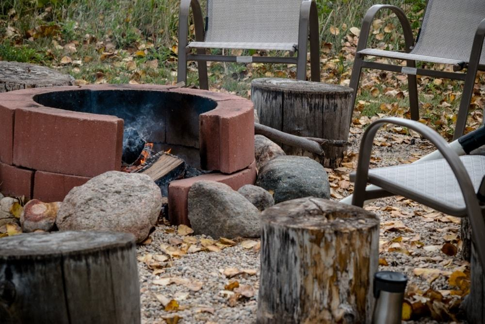 A Brick Fire Pit On A Canadian Backyard
