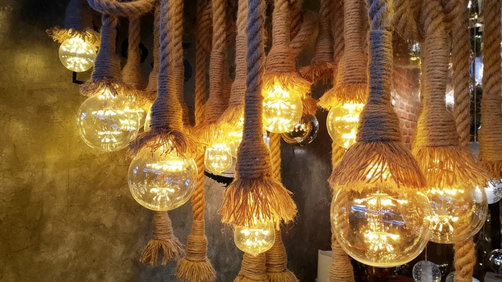 Vintage Rope Pendant Lights In Horizontal Composition